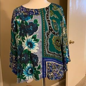 Anthropologie silky printed blouse